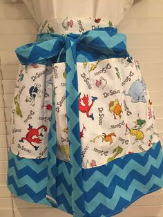 Dr. Seuss Adult Half Apron with pockets / Dr. Seuss birthday / green eggs and ham / cat in the hat / the grinch / thing one thing two by PrincessThimbelina on Etsy