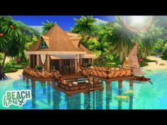 Today's video is my first Island Living speed build in the new beautiful world of Sulani, and I'm building a super cozy tropical over the water. Tropical Beach Resorts, Tropical Beach Houses, Small Beach Houses, Beach House Plans, Beach House Decor, Beautiful Beach Sunset, Beautiful Beaches, Beach Pink, Sims 4 House Design