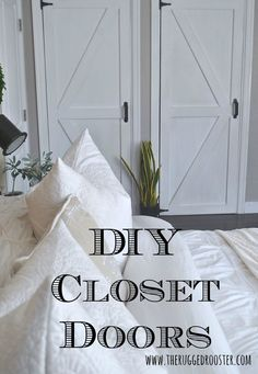 DIY Super Cheap Closet Doors With A Barn Door / Farmhouse / Rustic Look . using a piece of paneling, screws, silicone, paint, hinges & a door pull . cute look & lightweight . Cheap Closet, Simple Closet, Diy Sliding Barn Door, Diy Barn Door, Interior Barn Doors, Home Interior, Modern Interior, Bedroom Closet Doors, Diy Bedroom
