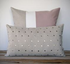 Colorblock and Studded Pillow Set - (20x20) Blush Pink Colorblock and (12x20) Silver Stud by JillianReneDecor - Modern Home Decor