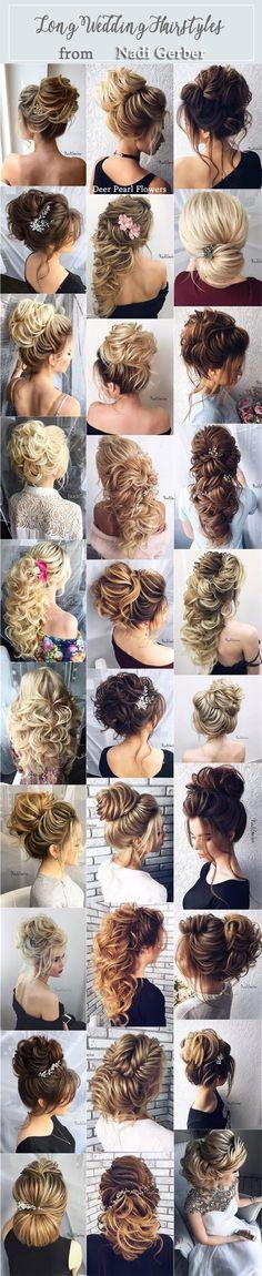Long Bridal Hairstyles Updos for Wedding from Nadi Gerber /  http://www.deerpearlflowers.com/long-wedding-hairstyles-from-nadi-gerber/