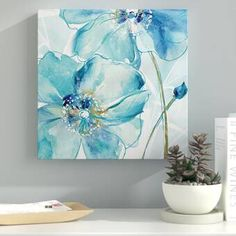 Flower Painting Canvas, Oil Painting Flowers, Blue Painting, Watercolor Flowers, Painting Prints, Watercolor Paintings, Canvas Art, Canvas Prints, Paintings Of Flowers