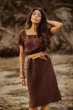 """Купить Платье """"Отголоски лета"""" - коричневый, однотонный, платье, льняная одежда, лен, стильный аксессуар"""