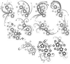 A set of tattoos for a co-worker of mine! Please do not copy and get these tattooed on yourself - these are just for her! Stars and Swirls Tattoos Hand Tattoos, Tribal Tattoos, Tattoos Skull, Star Tattoos, Great Tattoos, Body Art Tattoos, New Tattoos, Tatoos, Belly Tattoos