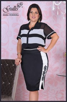 Conjunto plus size camisa em crepe duas cores e saia em cotton - Kauly: http://www.gullislingerie.com.br/primavera-verao-2016-conjunto-plus-size-camisa-crepe-2-cores-saia-cotton-kauly