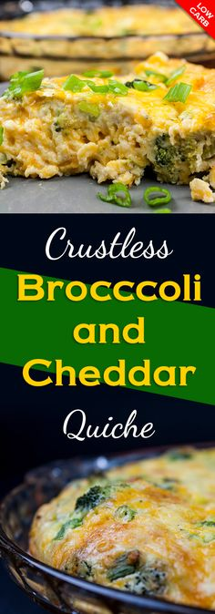 Crustless Broccoli Cheddar Quiche - So full of flavor you will never miss the crust. This crustless quiche is fluffy, creamy and loaded with cheesy goodness. #lowcarb #keto