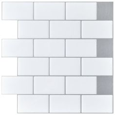 12 in. x 12 in. Peel and Stick Vinyl Subway Backsplash Tile in White - The Home Depot Peel N Stick Backsplash, Backsplash Panels, Beadboard Backsplash, Subway Tile Backsplash, Stick On Tiles, Kitchen Backsplash, Easy Backsplash, Herringbone Backsplash, Wall Tile