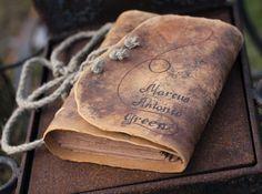 Livre d'or de mariage cuir journal avec aspect médiéval de craft brun papier 8,8 x 6,6 personnalisé