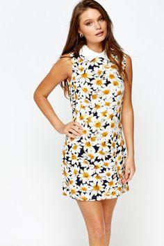 6224f5f8c00 White Multi Daisy Print Dress 1960s Fancy Dress