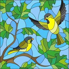 Illustration in stained glass style on the theme of summer, two siskin in the sky and maple leaves Stained Glass Paint, Stained Glass Birds, Stained Glass Designs, Stained Glass Projects, Stained Glass Patterns, Stained Glass Windows, Glass Painting Designs, Paint Designs, Vogel Illustration