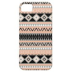 Girly Peach Coral Black Abstract Aztec Pattern iPhone 5 Covers