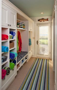 Mudroom - House of Turquoise: Francesca Owings Interior Design Pool House Bathroom, Pool House Decor, Mudroom Laundry Room, Mudroom Cubbies, Mudroom Cabinets, Bench Mudroom, Cubby Shelves, Open Shelves, Cabana
