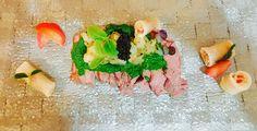 Beef salad, oyster sauce, shrimp tartar and caviar. Panzanella rolls
