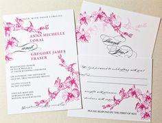 Printable Botanical Wedding Invitation  Orchid by encrestudio