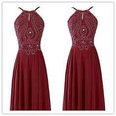 Sexy wine red halter Prom Dress,chiffon Prom Dress with beadeds,Prom Dress for teens