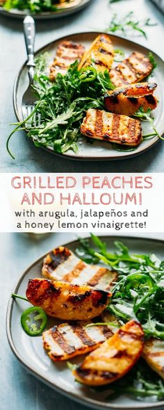 Grilled Peaches + Halloumi with Arugula, Jalapeños and a Honey Lemon Vinaigrette! Easy summer salad with so much flavor! #easy #peach #halloumi #grilled #salad #arugula #recipe | ColeyCooks.com Easy Summer Salads, Healthy Summer Recipes, Easy Salads, Halloumi Salad, Grilled Halloumi, Side Recipes, Dinner Recipes, Unique Recipes, Farmers Market Recipes