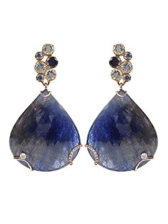 Federica Rettore Sapphire Drop Earrings - Blue - Sapphire drop earrings in blue from Federica Rettore. These 18kt rose gold drop earrings feature brilliant cut 0.51ct sapphire stones, 99.80ct blue sapphire drops, brilliant 0.06ct cut white diamonds and 0.15ct rose cut white diamonds. Has 2.70ct aquamarine, 0.81ct lolites, and post backs. Please note we do not accept returns for earrings.