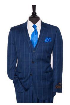 Tiglio Lux Men's Suit Blue Plaid