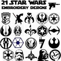 21 Star Wars symbols Embroidering patterns preset by OrganicChaos1