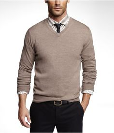 MERINO WOOL V-NECK SWEATER  -- Canyon -- S or XS