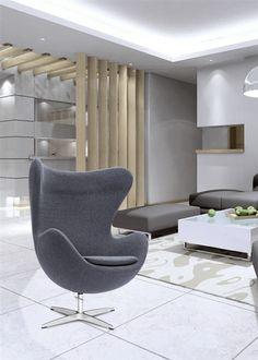 Arne Jacobsen Egg Chair In Charcoal Gray Wool