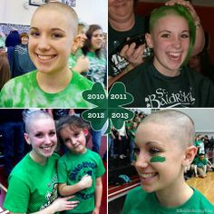 Show Off How Many Years You Have Been Involved With The Organization! St Baldricks, Forced Haircut, How Many Years, Buzz Cuts, Bald Women, Childhood Cancer, Event Ideas, Girls Wear, Capes