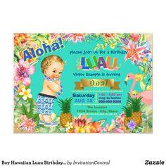 Shop Ethnic Boy Hawaiian Luau Birthday Party Invitation created by InvitationCentral. 2nd Birthday Boys, Luau Birthday, 2nd Birthday Parties, 23rd Birthday, Happy Birthday, Hawaiian Party Games, Luau Party Games, Birthday Invitation Message, 2nd Birthday Invitations