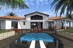 plan maison moderne piscine NOVELA