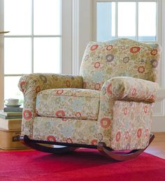 USA-Made Bedford Collection Upholstered Cottage Rocker And Throw Pillow