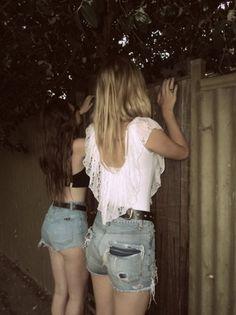 grunge, trouble, friends, denim shorts