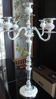 52cm height 5-branch floor candelabra silver metal candlestick wedding centerpiece candle holder candelabrum party decoration