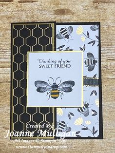 Fancy fold card using the Honey Bee stamp set from Stampin' Up! And Golden Honey DSP. Created by Joanne Mulligan, Independent Stampin' Up! Friend Cards, Cards For Friends, Golden Honey, Stamp Card, Bee Cards, Wink Of Stella, Fancy Fold Cards, Bee Happy, Punch Art