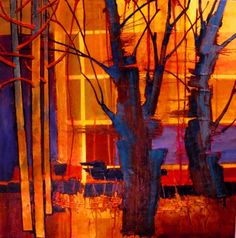 PARKVIEW 3 , contemoprary mixed media tree forest series Carol Nelson Fine Art, painting by artist Carol Nelson