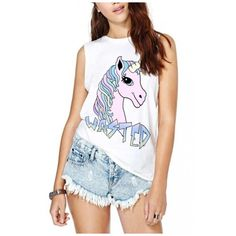Unicorn Letter Print Sleeveless Tank (236.055 IDR) ❤ liked on Polyvore featuring tops, white singlet, white cotton tank top, cotton camisole, cotton tank and white cami