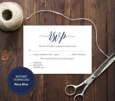 INSTANT DOWNLOAD Pdf Template 3,5x5 RSVP Card Wedding Rsvp postcards Editable Calligraphy Reply Card Printable Digital Navy blue #DP120_25 by DreamPrintable on Etsy