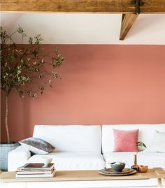 """Dulux """"Copper Blush"""" paint on the study walls. Looks best paired with white furniture and gold accents (vintage frames etc.)"""