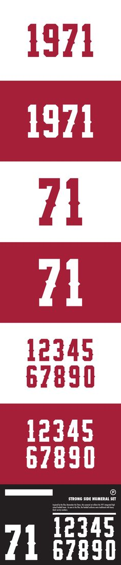 Inspired by the film, Remember the Titans, this numeral set reflects the 1971 integrated high school football team. As seen in the film, the football uniforms Football Uniforms, Football Team, Best Serif Fonts, Remember The Titans, High School Football, Reflection, Strong, Soccer Uniforms, Football Squads