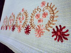 Gorgeous vintage hand embroidered towel with flowers. It can be used also as a kitchen panel etc.    In excellent condition.    in light yellow colour