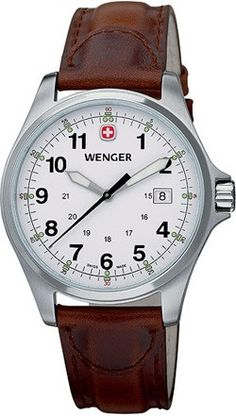 Wenger Men's Terragraph Stainless Watch - Brown Leather Strap - White Dial - 72780  http://www.originalwatchstore.com/brand/wenger/