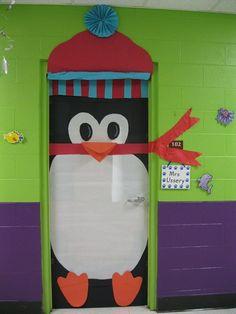 decoraçao porta natal pinguim