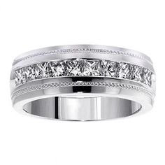 This ring is gorgeous!! XoXo 14k White Gold 1.05 CT Men's Diamond Princess Cut Ring