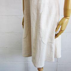 Knee Length Sleeveless Dresses Natural Color Cotton-Pocket Detail-www.tanbagshop.com