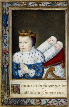 Prince Louis (de Valois) and his twin sisters, Victoire and Jeanne. Jeanne and Victoire were the last children born to Henri II and Catherine de Medicis. Joan died before birth, Victoire lived a month. Prince Louis died at the age of just under 2. Illustration from Livre d'heures de Catherine de Medicis