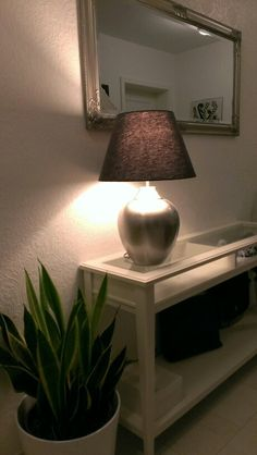 Hallway with Ikea Åsele table lamp and Liatorp Sideboard Liatorp, Entrance Decor, Entryway Decor, Living Room Decor, Living Spaces, Types Of Ceilings, Ikea Home, Building A New Home, Decoration