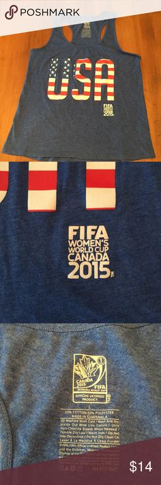 USA 🇺🇸FIFA World Cup 2015 Racerback Top Purchased from Old Navy. In EUC and only worn once. Women's FIFA World Cup in Canada 2015. Perfect workout shirt this summer. Size Large. Photo #2 is an accurate picture of the color of the top. It was difficult to get the actual color with the lighting. Tops Tank Tops