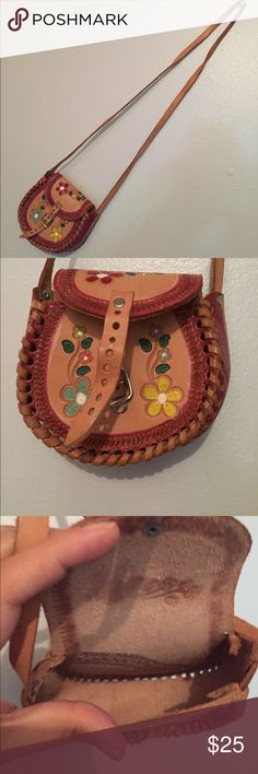 Small leather bag Small Mexican leather bag, hand painted with natural and organic paint. 🇲🇽 Bags Mini Bags