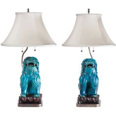 Turquoise Ceramic Asian Foo Dog Lamps, circa 1940 | From a unique collection of antique and modern table lamps at https://www.1stdibs.com/furniture/lighting/table-lamps/