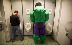 The Incredible Hulk relieves himself at the ComicCon at the ExCel Centre in London's Docklands