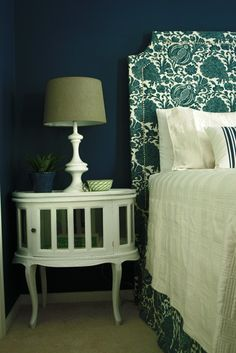 Upholstered headboard DYI and that nightstand!