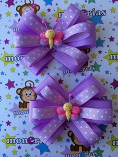 Ribbon Hair Bows, Diy Hair Bows, Diy Bow, Ribbon Flower, Homemade Bows, Barrettes, Hairbows, Bow Tutorial, Flower Tutorial